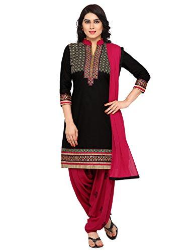 Kvsfab Women\'s Cotton Unstitched Patiala Salwar Suit (KVSSK5053PA_34_Black_Free Size)