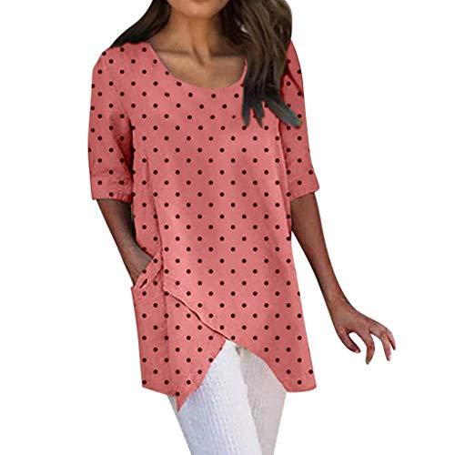 ZODOF Mujeres Camisetas Moda Mujer Asimétrico Media Manga Lunares Dobladillo Irregular Elegante Tops Blusa Verano Camisas Mujer(Melon Rojo)