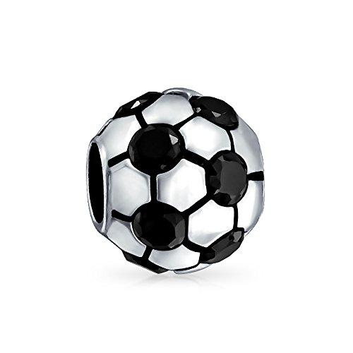 Bling Jewelry Nero CZ Pallone da calcio 925 Sport Bead