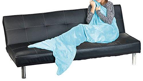 Wilson Gabor Fischschwanz-Decke: Weiche Meerjungfrau-Decke mit Flosse für Kinder, 140 x 60 cm, hellblau (Kuscheldecke als Schlafsack) - Wilson Decke