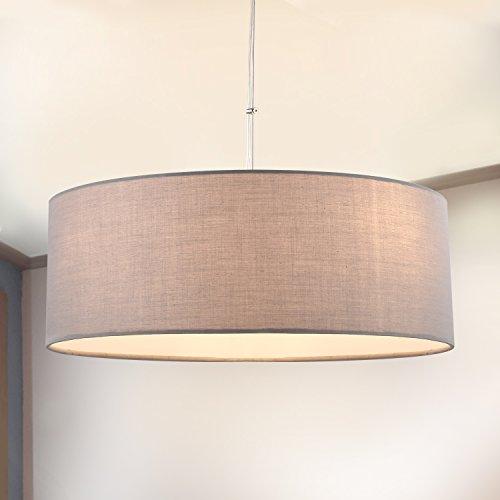 Sparksor - Lámpara de techo, cromada mate, pantalla de tela gris, lá
