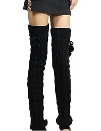 Butterme Womens Extra Grueso Largo De Cable Knit Crochet Knee Calentadores De Pierna Alta Con El