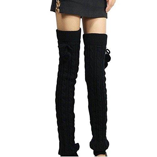 Butterme Womens Extra Grueso Largo De Cable Knit Crochet Knee Calentadores De Pierna Alta Con El Otoño De Invierno Knit Calcetines Calcetines De Rodilla(65CM,Negro)