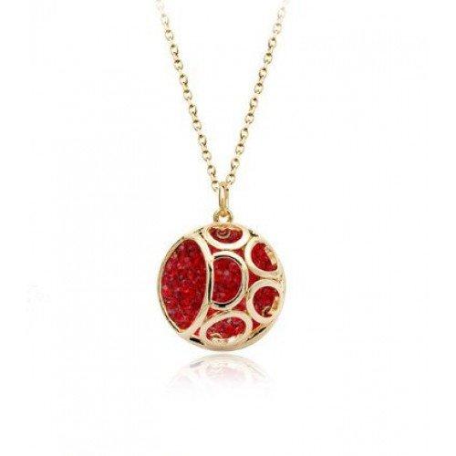 Coral Jewellery - Collar y Colgante Chapado en Oro Rosa de 18K con Elementos de Cristal de Rubí Rojo, Piedra del Mes de Julio y Signo del Zodíaco Aries, 28MM