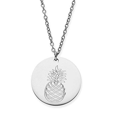 URBANHELDEN - Damen-Kette mit rundem Motiv Anhänger - Hals Kette Amulett - Edelstahl - Gravur Ananas Silber