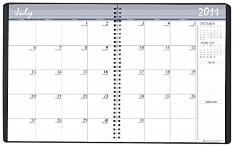 Academic Ruled Monthly Planner, 14-Mo. July-August, 8-1/2 x 11, Black, 2015-2016, Sold as 1 Each