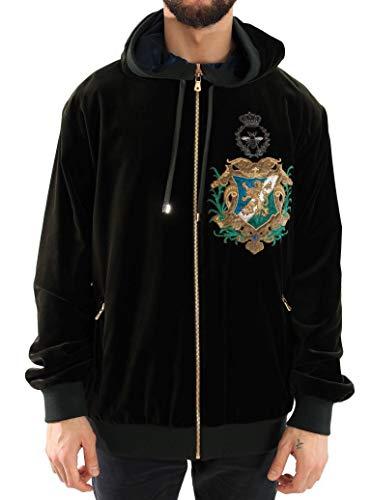 Dolce & Gabbana - Herren Pullover - Hoodie - Men Sweater Green Velvet Zipper Hooded Sweater - Size: 56 - Dolce Gabbana Herren Pullover