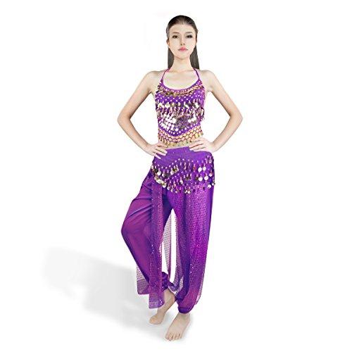 SymbolLife Bauchtanz kostüm damen indischen Tanzkleidung Tanzkostüme Halloween Karneval Oktoberfest Kostüme Darbietungen Kleidung Das Obere + Pluderhosen + Gürtel Lila