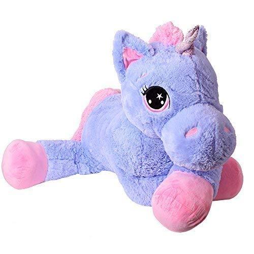TE-Trend Plüschpferd Pferd XXL Einhorn Unicorn liegend 130cm lila mit Glitzerhorn und ausdrucksvollen Augen - Stofftier Einhorn Riesen