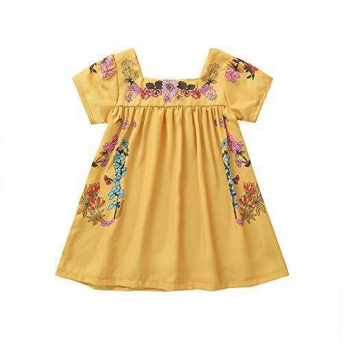Livoral Mädchen Prinzessin Kleid Sommer Kleinkind Baby Kurzarm Blumendruck lässige Kleidung(Gelb,120)