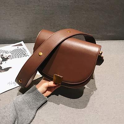 KBFDWEC Mode Pu Leder Satteltasche Frauen Luxusmarke Umhängetaschen Kleine Runde Handtasche Frühling Und Sommer Crossbody Messenger Bags, Braun -