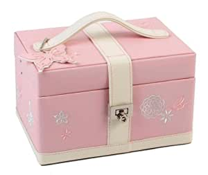 "Jewellery Box ""Butterfly/Flowers"" Embroidered Pattern Cream/Pink"