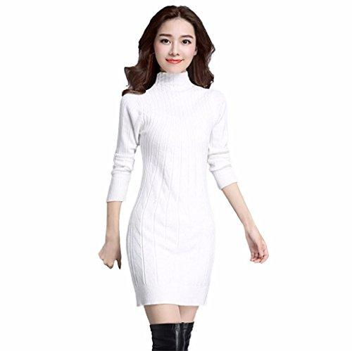 Vovotrade Femmes Élégant Collier haut Tricot Chandail Robe à manches longues Blanc