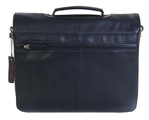 Visconti - Sac Attaché Case Ordinateur Portable Cuir Noir / Marron Alfie Epaule Moyen 659 Schwarz