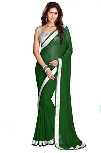 SUNSHINE Georgette & Silver Goto Fabric With Beautiful Lace Border Saree (...