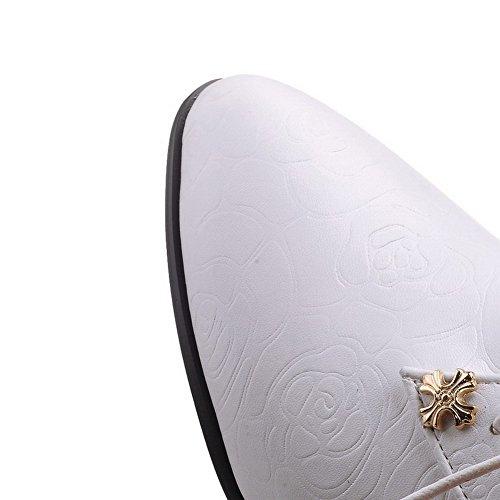 AllhqFashion Femme Lacet Pointu à Talon Correct Pu Cuir Mosaïque Chaussures Légeres Blanc