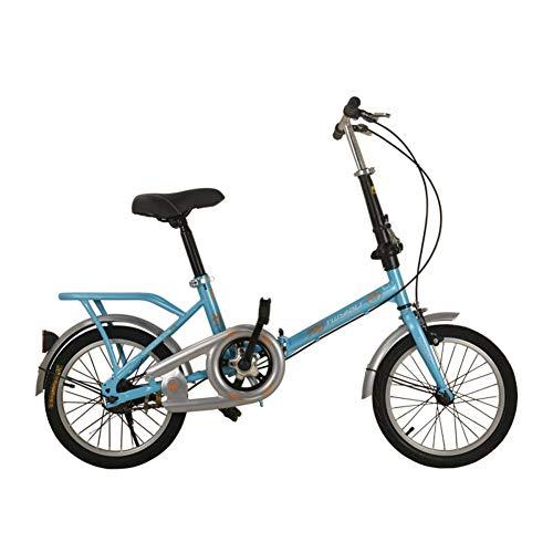 Kinder Fahrrad,Einzigen falte Doppelte falte Doppelbremse Fahrrad Student 12 16 20 Zoll 8-14 Jahre alt-Blau 51.2inch