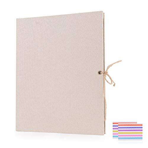 EKKONG DIY Scrapbook Fotoalbum,Fotoalbum zum Selbstgestalten,Leinen Nachfüllbar Fotobuch Retro Gästebuch Stammbuch (Beige)