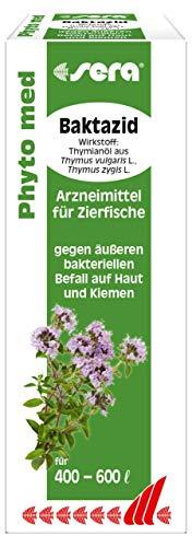 sera 32280 Phyto med Baktazid Arzneimittel für Zierfische gegen äußeren bakteriellen Befall auf Haut und Kiemen, 30 ml