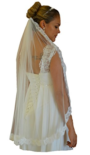 Schleier FEIN Brautschleier 1 Lage Kamm Spitze 1-lagig Hochzeit Braut Weiß Ivory (Ivory)