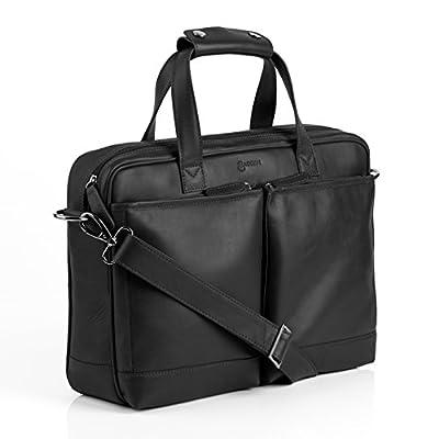 """BACCINI Housse ordinateur MARCO - grand - Sacoche pour ordinateur, étui PC portable approprié pour 15.4"""" - sac d'affairs noir en cuir véritable"""