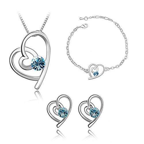 Gespout Collier Cristal Bleu Bijoux Ensemble Cadeau d'anniversaire Alliage Le Style Particulier Collier Pendentif Boucles d'oreilles Bracel