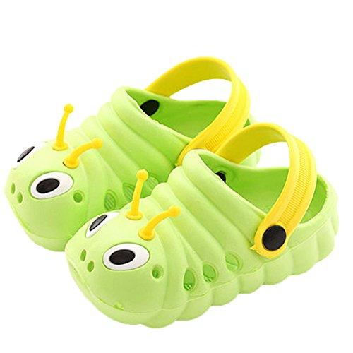 Kleine Tomate Unisex Kinder Hausschuhe Kinder Clogs Gartenschuhe Raupe Bequemer Atmungsaktiv Strand Aqua Slippers, Grün, Gr. 25(Schuhe Innenlänge:150mm)