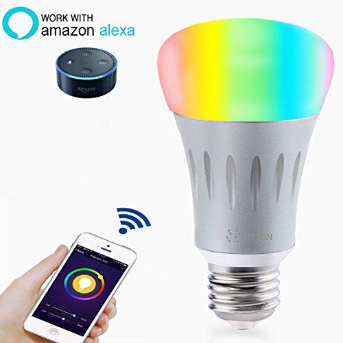 Smart LED Light Bulb, Wi-Fi Light Bulb, Multicolored LED Light Bulbs, A19, Dimmable,7W E27, Smartphone Controlled Daylight & Night Light, Home Lighting, Works with Amazon Alexa