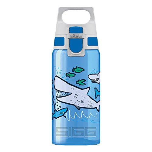 SIGG VIVA ONE Sharkies, Kinder Trinkflasche, 0.5 L, Polypropylen, BPA Frei, Blau, Blau, 0.5 L, 8686.50 (Trinkflaschen Für Kinder)