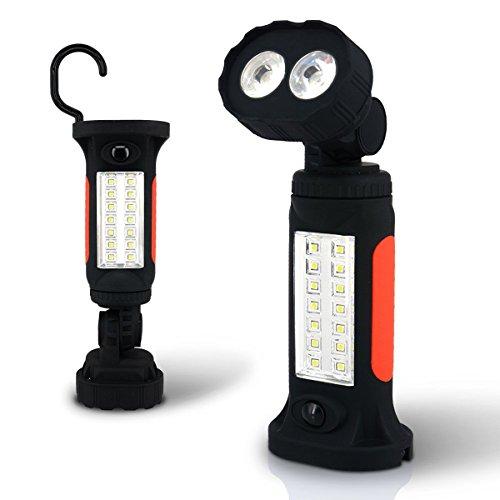 LED-Arbeitsleuchte Taschenlampe, szwintec COB Tragbare LED Camping Licht, Handsfree Garage Nacht Lampe für Auto, Notfälle, Werkstatt mit Die Anpassung Ständer, Haken zum Aufhängen und Magnet Boden