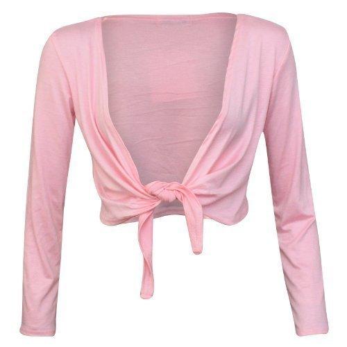 XpoZed Moda - Boléro Femme Lacet Noeud Devant Manche Longue Rose Layette