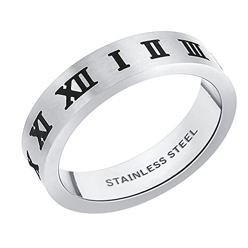 Peora 316L Stainless Steel Roman Numerals Ring for Men (PSR270-9)  available at amazon for Rs.490