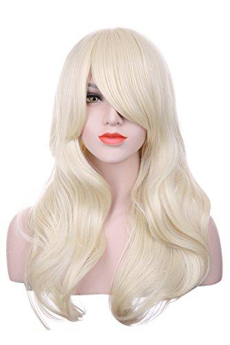 hHosee Perruque Longue Cheveux Bouclés/Ondulés Blond Clair 71,1 cm Perruques Blond Clair Longue Bouclée Ondulée Femme Mesdames cheveux cosplay costume perruque pour une utilisation quotidienneUsage au quotidien