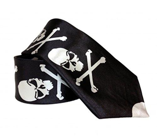 Black Out Gothic Krawatte Totenkopf mit Knochen