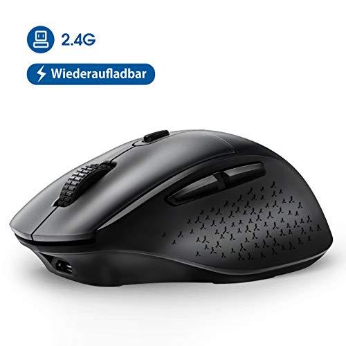 VicTsing Maus Kabellos, (2020 Neuest) Funkmaus Wiederaufladbar PC Maus Wireless mit 5 Einstellbare DPI / 6 Tasten, Schnurlose Mäuse Silent Ergonomisch für Laptop, Tablet, Computer, Notebook