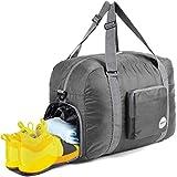 WANDF Faltbare Reisetasche40L mit Schuhfach, Leichte Sporttasche für Reisen Gym Sport Urlaub, Wasserdichte Nylon (Grau)