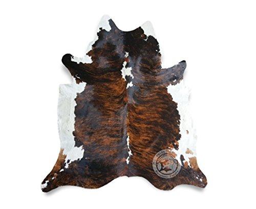 Teppich aus Kuhfell, Farbe: Tiger Dunkel dreifarbig, Größe circa 180 x 240 cm, Premium - Qualität von Pieles del Sol aus Spanien