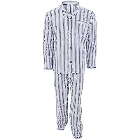 Conjunto de pijama de manga larga de franela estampado a rayas hombre caballero