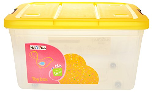 Nayasa Toy Box with Lid, 25 Litres, Transparent