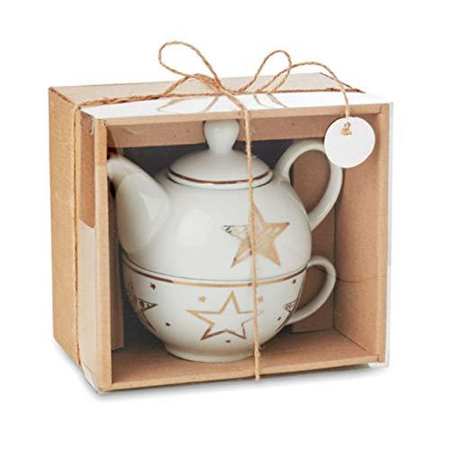 noTrash2003 Weihnachtliche Teekanne mit Tasse und im goldfarbenem Stern Dekor