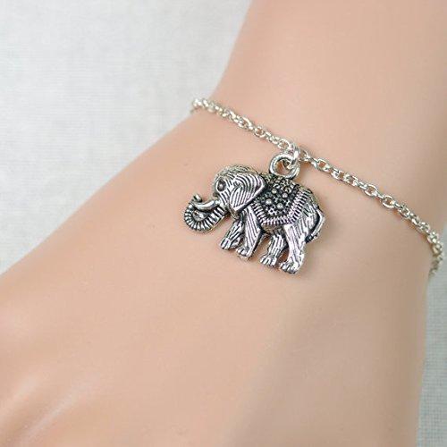 Pulsera de elefante bohemio, colgante de elefante de plata en cadena chapada en plata, colgante de animal, dije de elefante, pulsera de buena suerte, regalo de cumpleaños