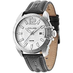 Police Men's Quartz Watch with Silver Dial Analogue Display and Black Leather Strap 14105JS/04