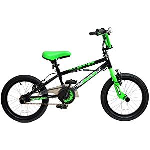 "41JZMnsE7cL. SS300  - XN-9 Boys Kids Freestyle BMX Bike 16"" Wheel Black Green with Gyro"