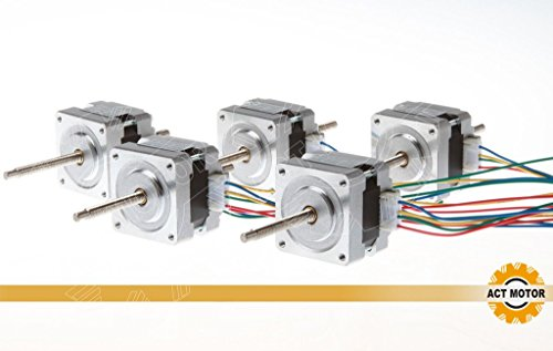 ACT MOTOR GmbH 5PCS 16HSL3404 Nema16 Linear Stepper Motor Bipolar 32mm Body 21Ncm Torque 4Wire 320mm Cable 0.4A with 1.8° 12V for Robot CNC Through Lead Screw