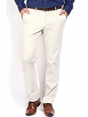 Oshano Solid Cotton White Formal Trouser