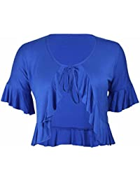 New Ladies Plus Size Tie Frill Ruffle Shrug Tops Womens Bolero Cropped Stretch Cardigan Top