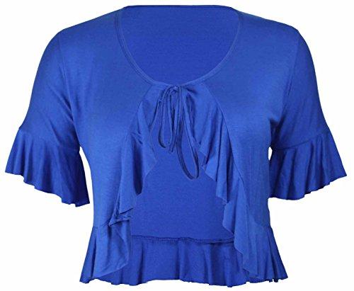 Neu Damen Übergröße Krawatte Rüsche Rüsche Schulterjacke Oberteile Damen Bolero Abgeschnitten Stretch Strickjacke Top - Königsblau, 44 -