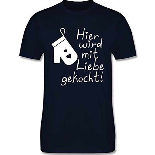 Küche - Hier wird mit Liebe gekocht - Herren Premium T-Shirt Navy Blau