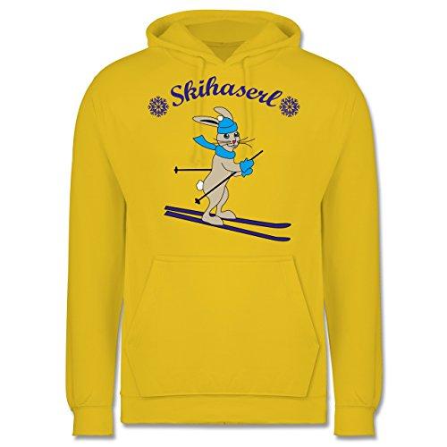 Wintersport - Skihaserl - Männer Premium Kapuzenpullover / Hoodie Gelb