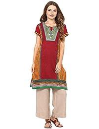 Rama Women's Embroidered Red Cotton Straight Kurta